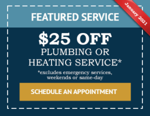 January Promo Coupon for $25 off Plumbing or Heating Services